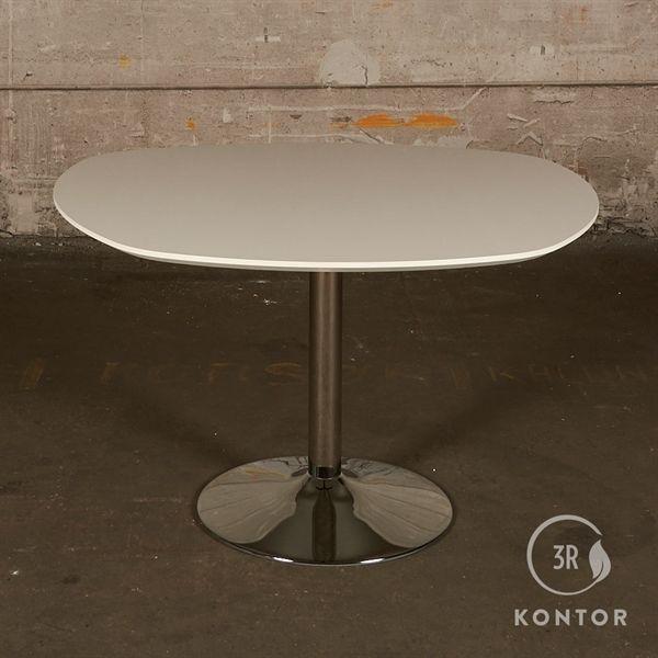 Kantinebord. Hvid top i unik form. Krom søjle - 125x121