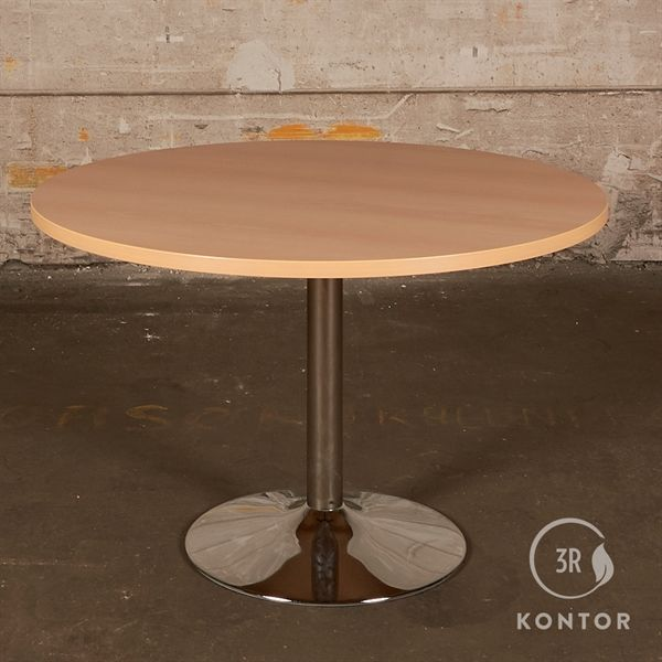 Kantinebord i bøg på ny krom søjle. Ø120 cm
