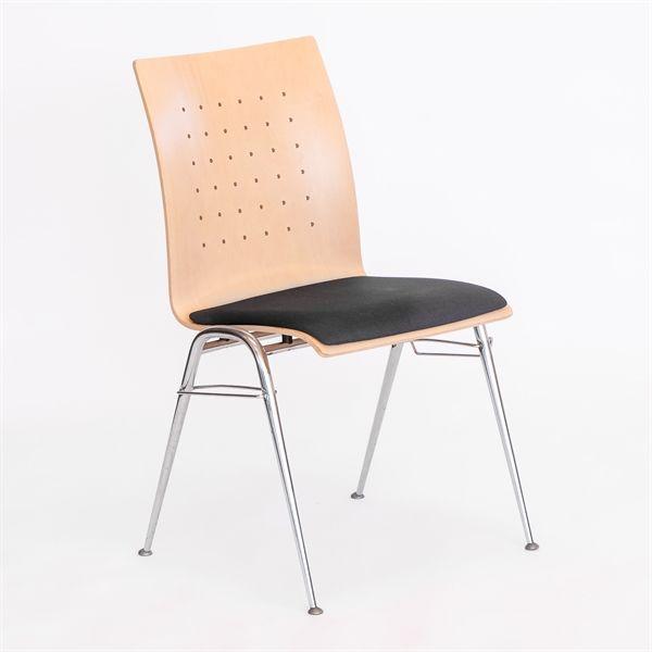 Kantinestol, ahorn ryg, grå polster på sæde.