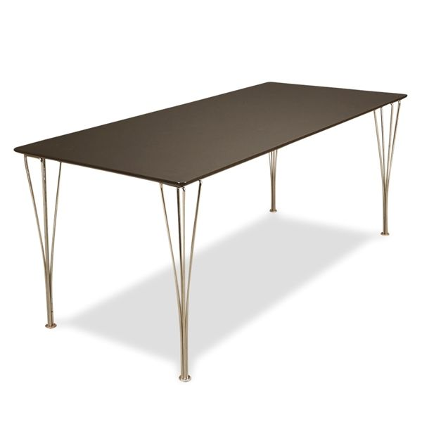 Image of   Konferencebord. Sort linoleum, Piet Hein trådben. 180x80