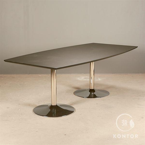 Konferencebord. Sort linoleum. Tøndeformet, krom søjler 220x110/90 - NYT