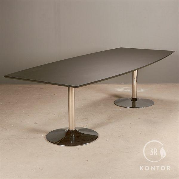 Konferencebord. Sort linoleum. Tøndeformet, krom søjler 260x110/90 - NYT