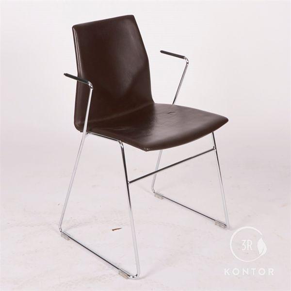 Konferencestol, brunt læder, krom stel