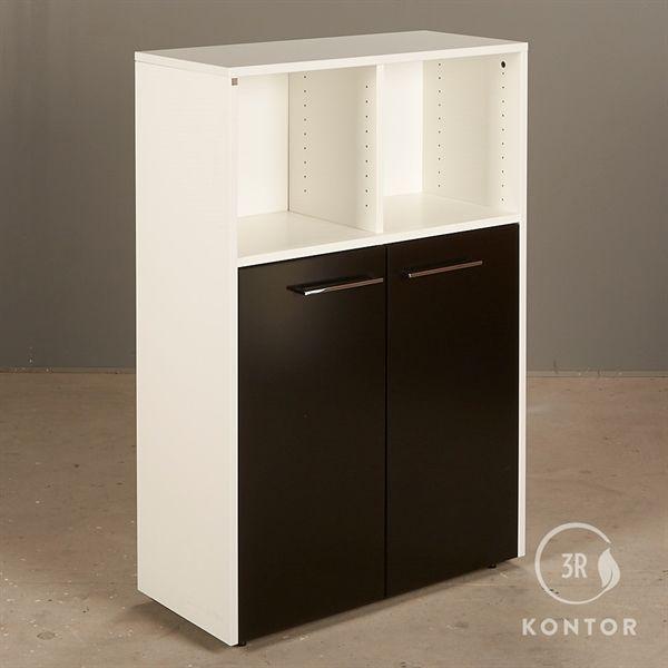 Image of   Kontorskab. Dencon. Hvid med 2 sorte låger, 2 åbne rum.