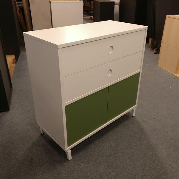 Image of   Kontorskab, hvid laminat, 2 skuffer, 2 grønne låger.