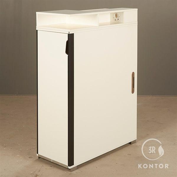 Image of   Kontorskab. Hvid med endeudtræk, ekstra opbevaring på toppen.