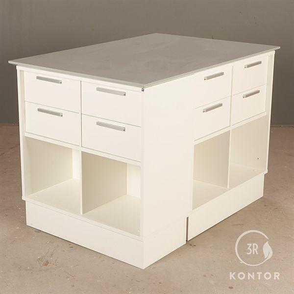 Image of   Kontorskab. Hvid med grå top. 3 skabe i 1.