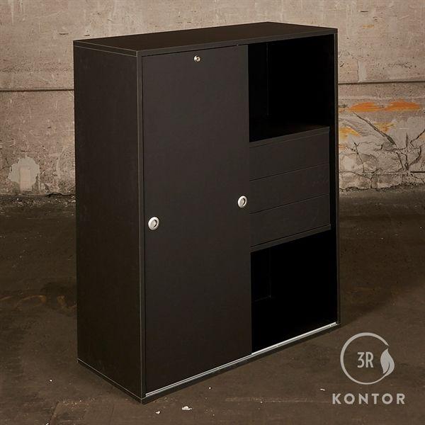Image of   Kontorskab i sort linoleum, 1 skydelåge, 3 klikskuffer.