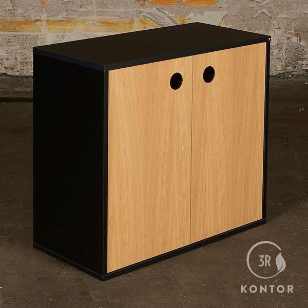 Image of   Kontorskab. sort med 2 egelåger og sort håndtag.