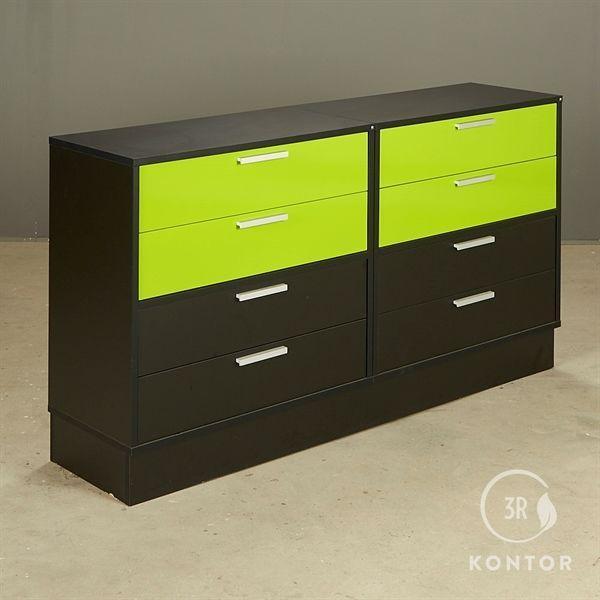 Image of   Kontorskab. sort med 4 grønne skuffer og 4 sorte skuffer.