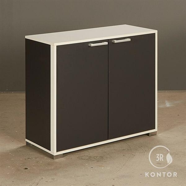 Image of   Kontorskab. Sort og hvid med 2 sorte låger.
