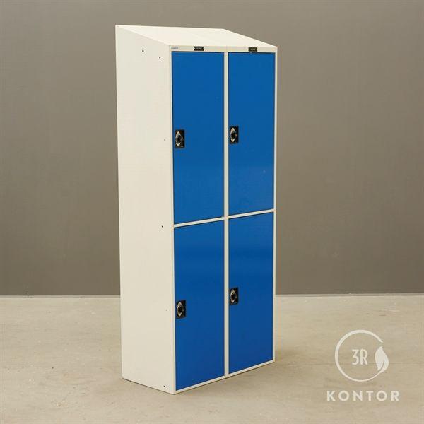 Image of   Locker. Hvid med 4 blå låger. Med kodelås