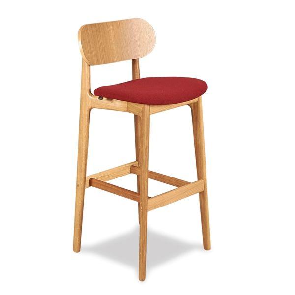 Image of   Modus PLC Bar stool. Olieret eg med rødt polstret sæde.