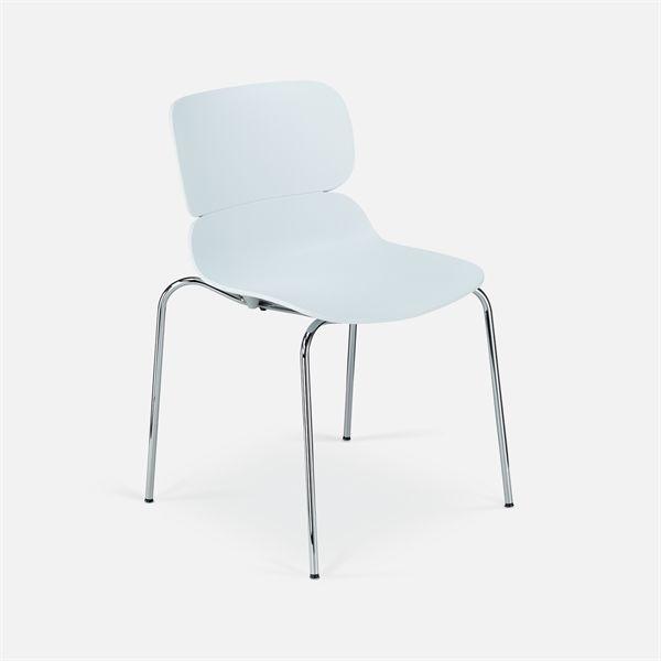 Image of   Molo konferencestol, hvid plastic, krom stel. NY