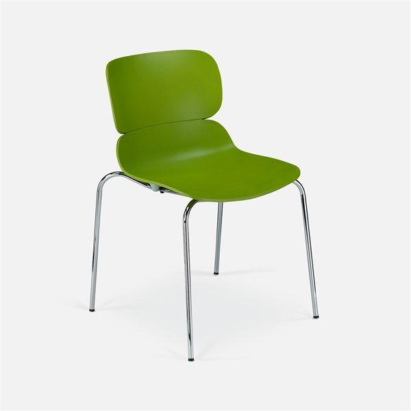 Image of   Molo konferencestol. Limegrøn plastic, krom stel. NY