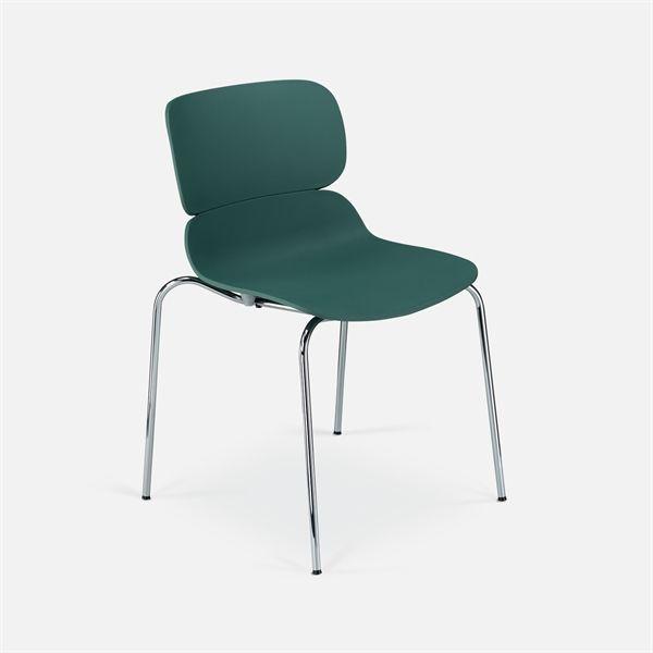 Image of   Molo konferencestol. Støvgrøn plastic. krom stel. NY