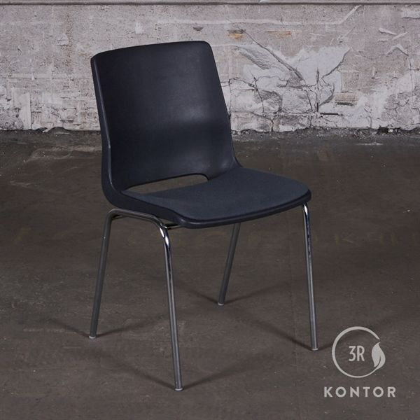 Image of   RBM kantinestol, grå plastic, polstret sæde