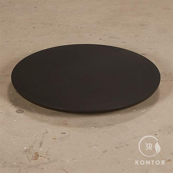Rund bordplade. Sort laminat, afrundede kanter. Ø68 cm